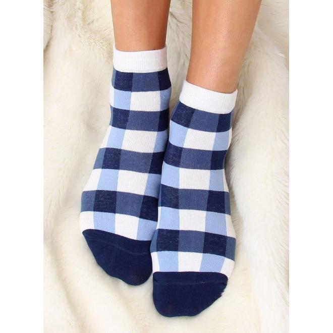 Modro-biele vzorované ponožky pre dámy