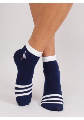 Vzorované dámske ponožky tmavomodrej farby