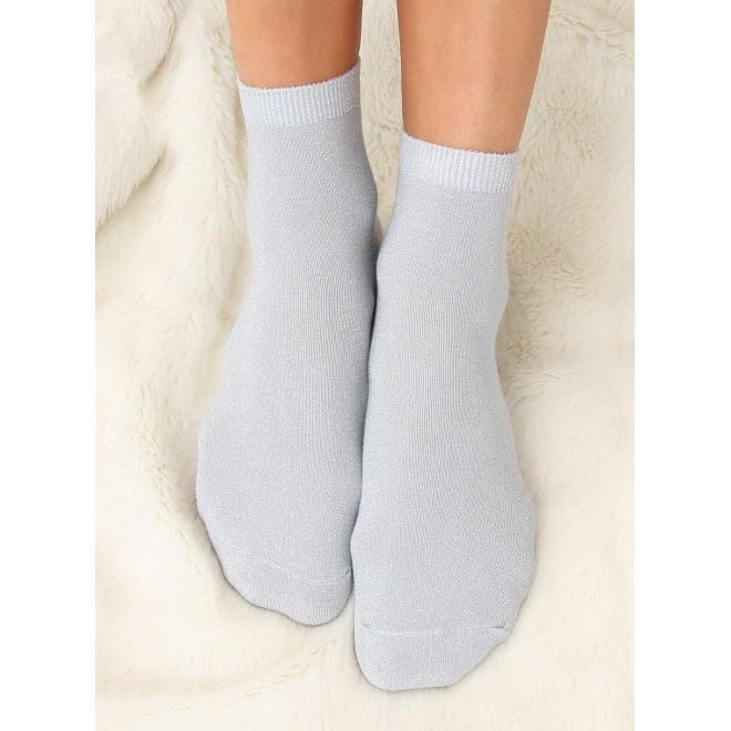 Dámske trblietavé ponožky v sivej farbe