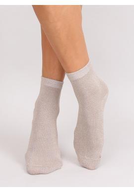 Béžové trblietavé ponožky pre dámy