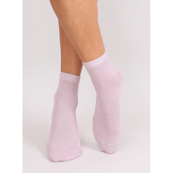 Trblietavé dámske ponožky ružovej farby