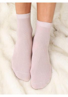 Dámske trblietavé ponožky v práškovo ružovej farbe