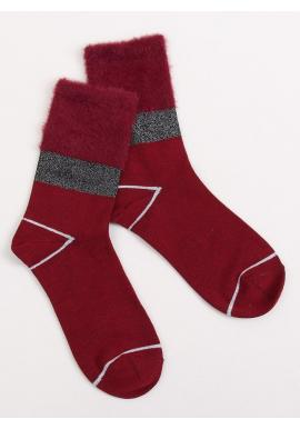 Bordové módne ponožky s kožušinou pre dámy