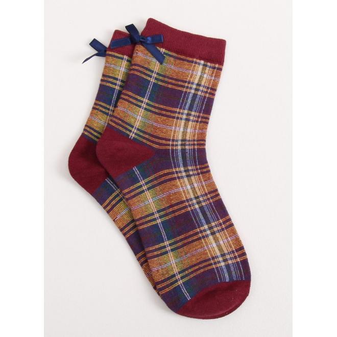 Dámske kárované ponožky s mašľou v bordovej farbe