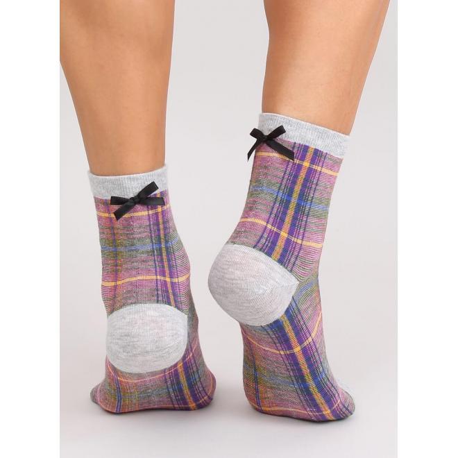 Sivé kárované ponožky s mašľou pre dámy