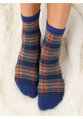 Kárované dámske ponožky tmavomodrej farby s mašľou