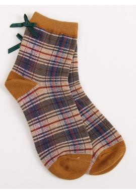 Dámske kárované ponožky s mašľou v hnedej farbe