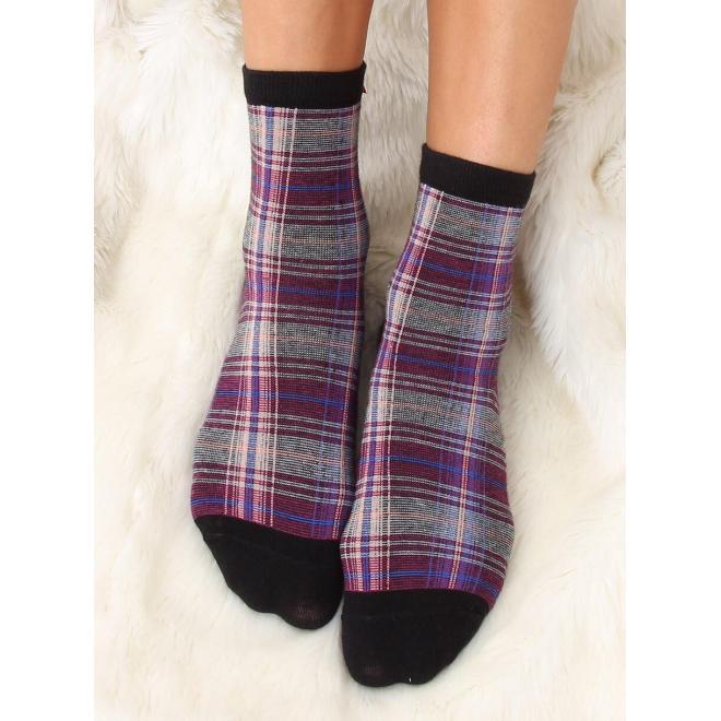Čierne kárované ponožky s mašľou pre dámy