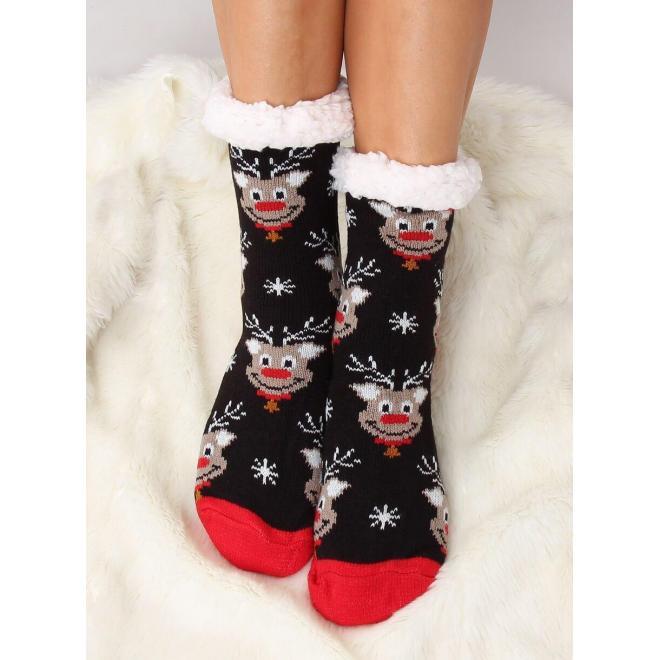Ponožkové dámske papuče čiernej farby so sobmi