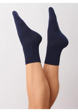 Dámske hladké ponožky v tmavomodrej farbe