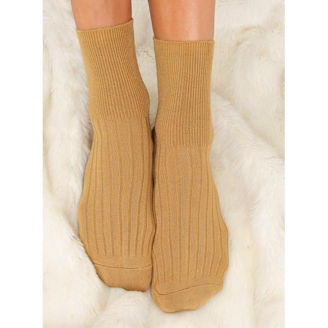 Žlté hladké ponožky pre dámy