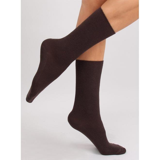 Dámske vysoké ponožky v hnedej farbe