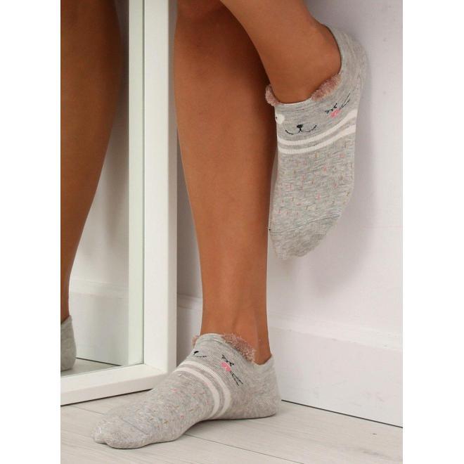 Vzorované dámske ponožky sivej farby s malými ušami