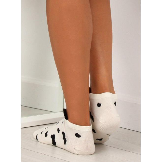 Dámske vzorované ponožky s malými ušami v béžovej farbe