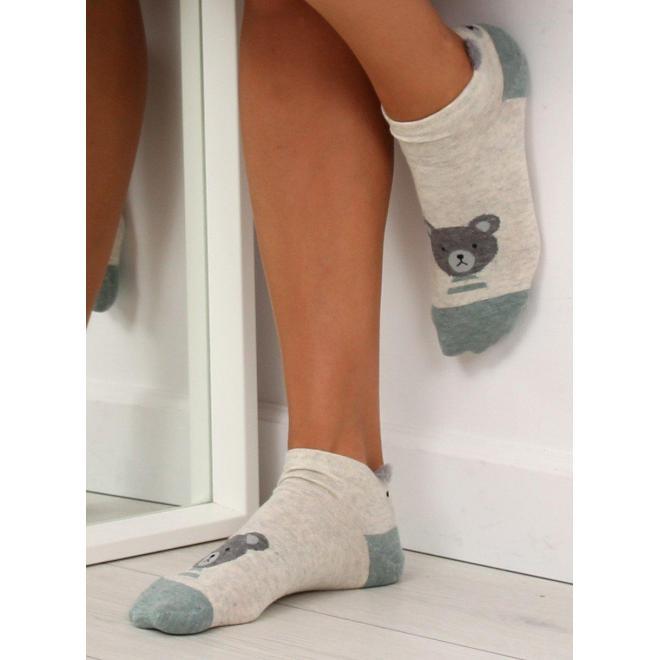 Béžové vzorované ponožky s malými ušami pre dámy