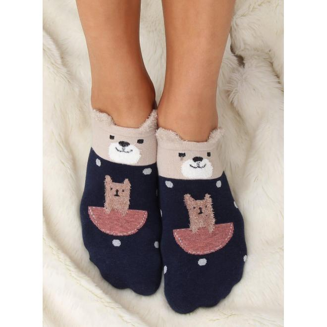 Vzorované dámske ponožky tmavomodrej farby s malými ušami