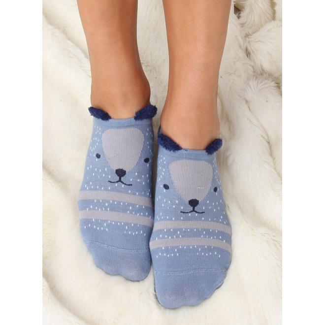 Dámske vzorované ponožky s malými ušami v modrej farbe