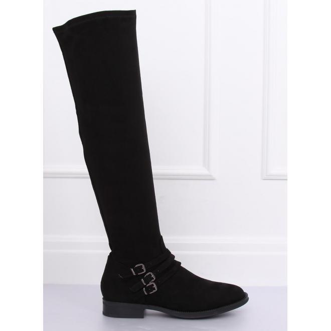 Semišové dámske čižmy nad kolená čiernej farby s prackami