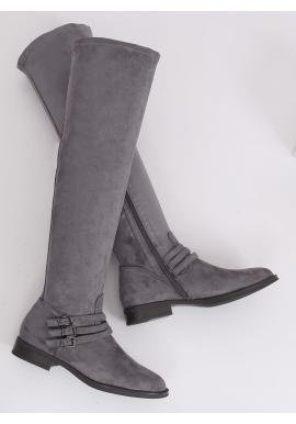 Dámske semišové čižmy nad kolená s prackami v sivej farbe