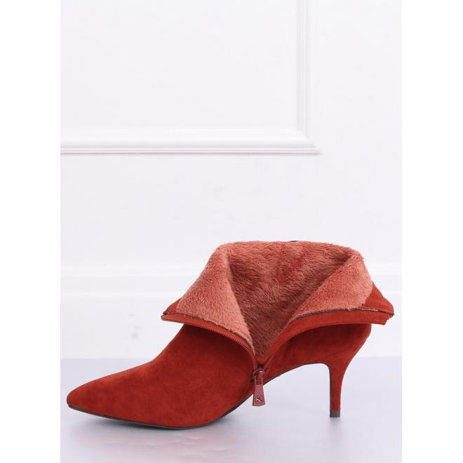 Dámske elegantné topánky na nízkom podpätku v tehlovej farbe