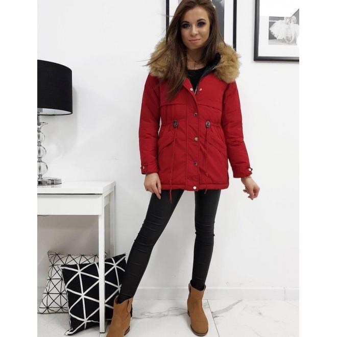 Obojstranná dámska bunda červenej farby s kapucňou