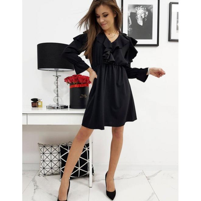Elegantné dámske šaty čiernej farby s volánmi