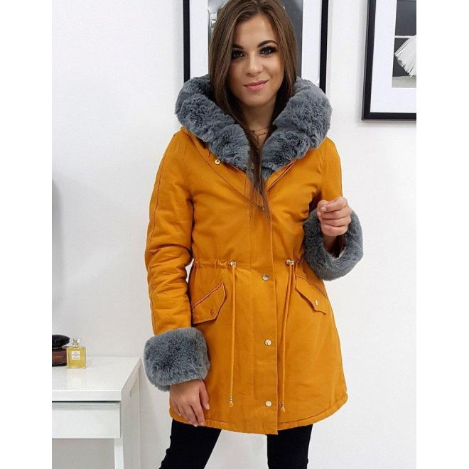 Žltá zimná Parka s kapucňou pre dámy