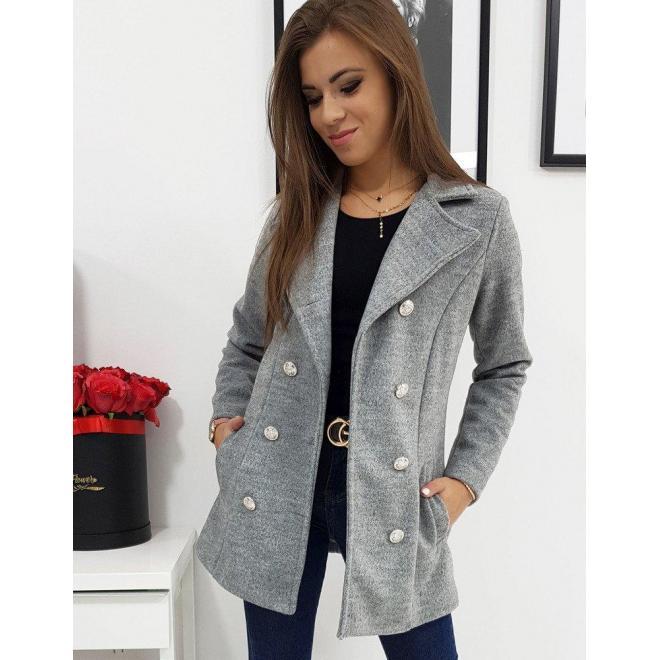 Dvojradový dámsky kabát svetlosivej farby