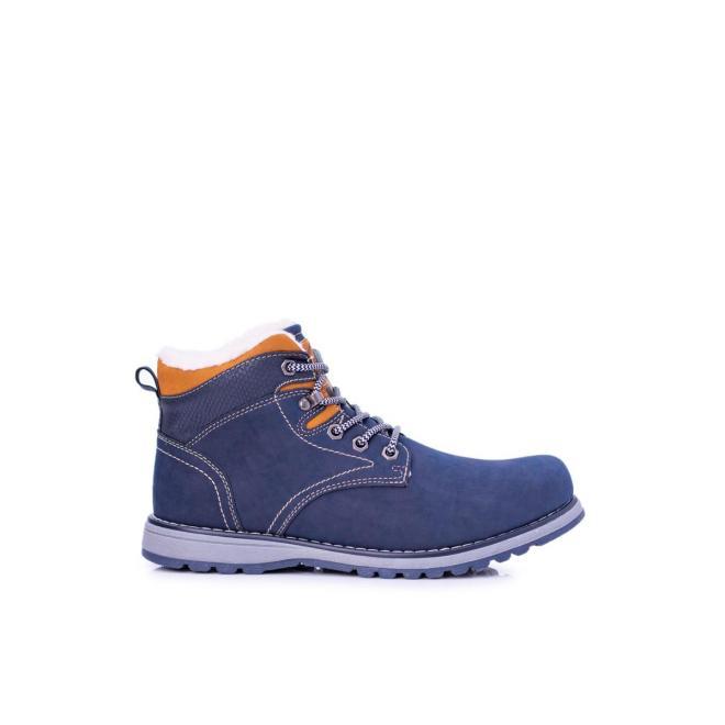 Tmavomodrá oteplená trekingová obuv pre pánov