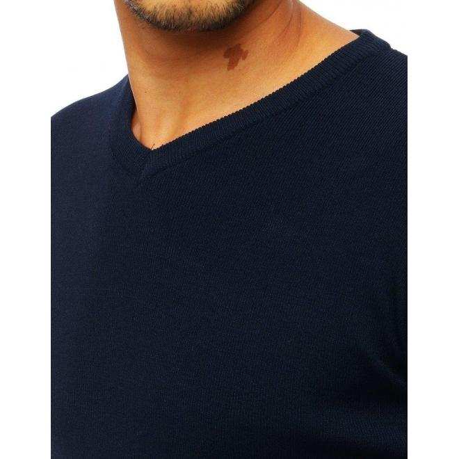 Tmavomodrý klasický sveter s výstrihom v tvare V pre pánov