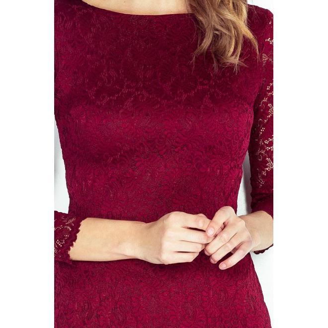 Čipkované dámske šaty bordovej farby s 3/4 rukávom