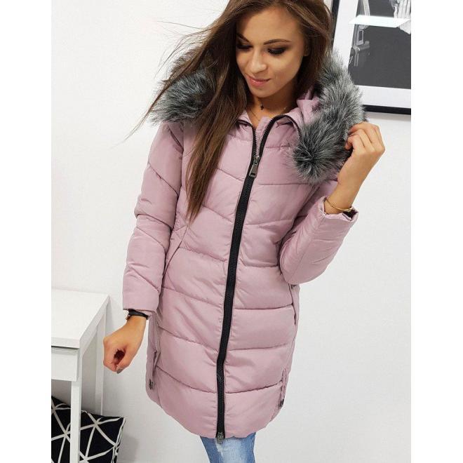 Dámska prešívaná bunda na zimu v ružovej farbe