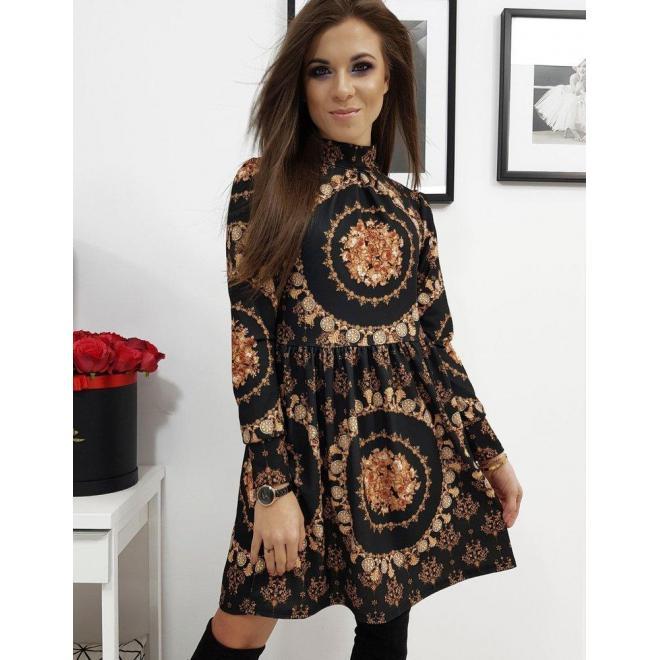 Vzorované dámske šaty čiernej farby s dlhým rukávom