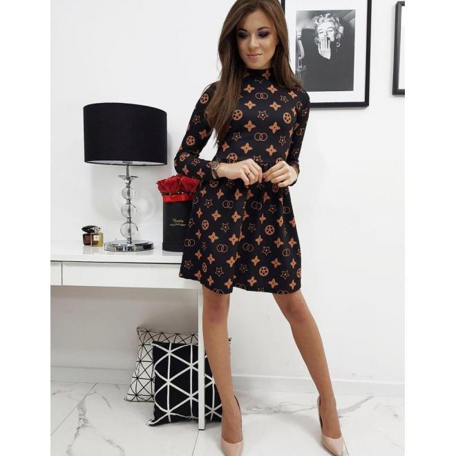 Dámske vzorované šaty s dlhým rukávom v čiernej farbe