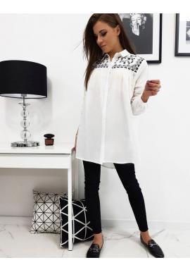 Elegantná dámska košeľa bielej farby s dlhým strihom