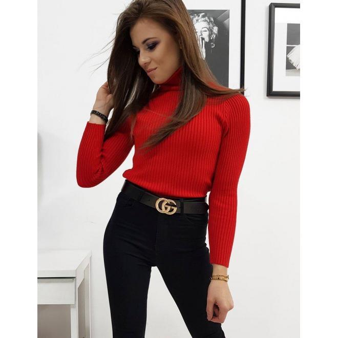 Dámsky bavlnený rolák s dlhým rukávom v červenej farbe