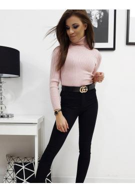 Ružový bavlnený rolák s dlhým rukávom pre dámy