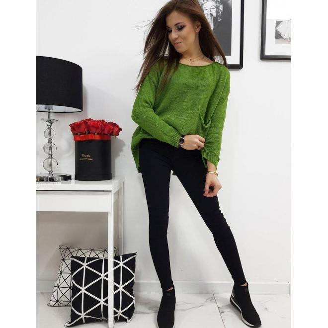 Dámsky módny sveter s vreckom vpredu v zelenej farbe