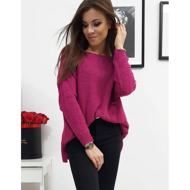 Ružový módny sveter s vreckom vpredu pre dámy