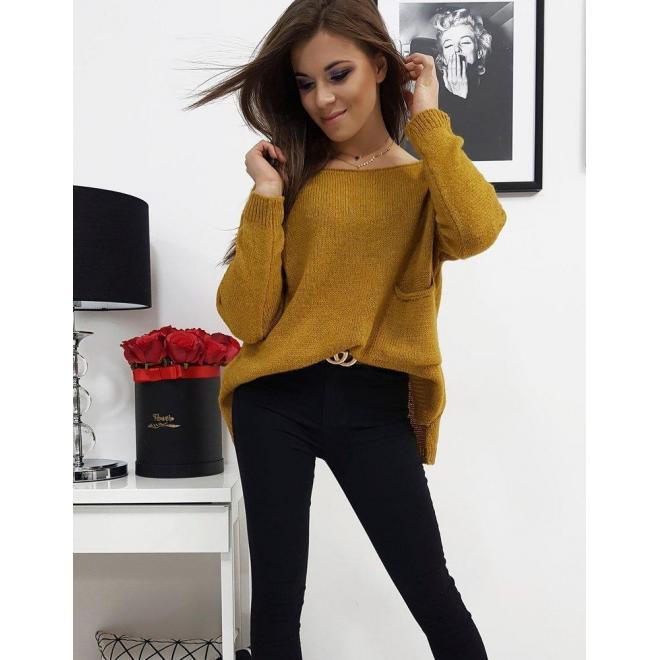 Dámsky módny sveter s vreckom vpredu v horčicovej farbe