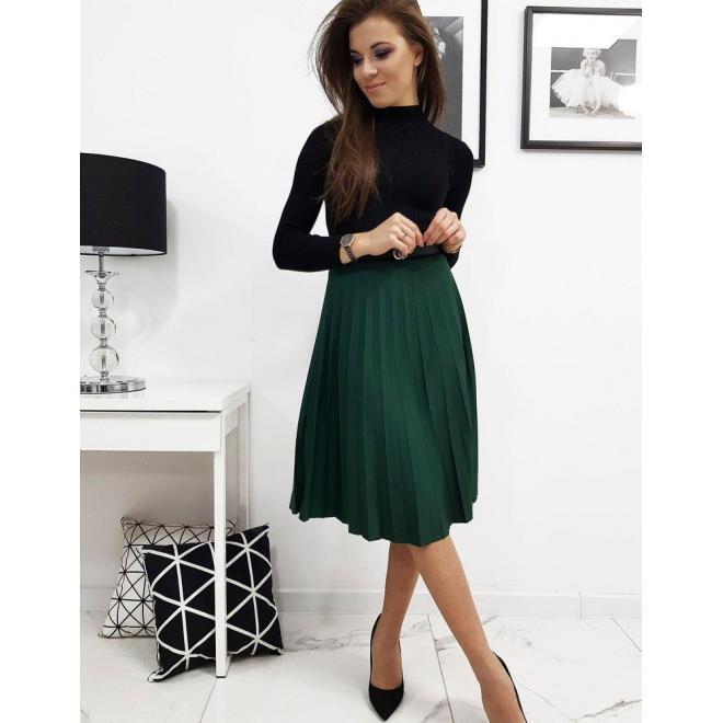 Dámska plisovaná sukňa pod kolená v zelenej farbe