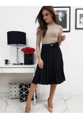 Čierna plisovaná sukňa pod kolená pre dámy