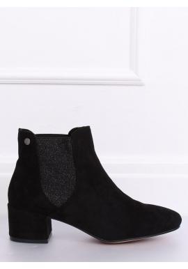 Čierne semišové topánky na nízkom opätku pre dámy