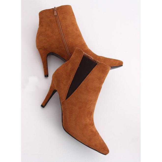 Dámske semišové topánky na štíhlom podpätku v hnedej farbe