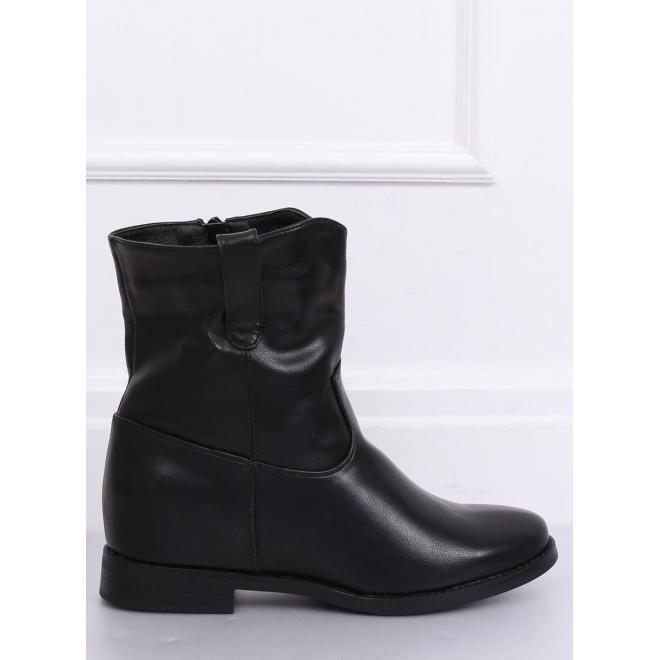 Čierne štýlové čižmy na skrytom opätku pre dámy