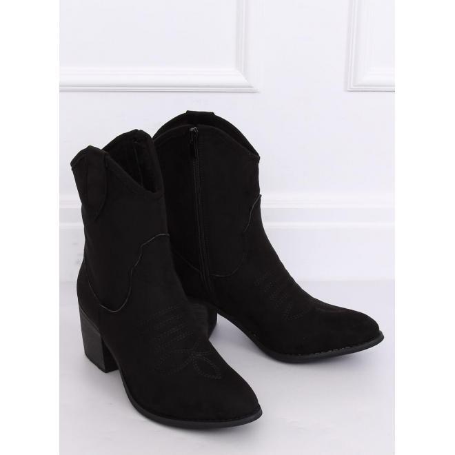 Čierne semišové kovbojky na širokom podpätku pre dámy