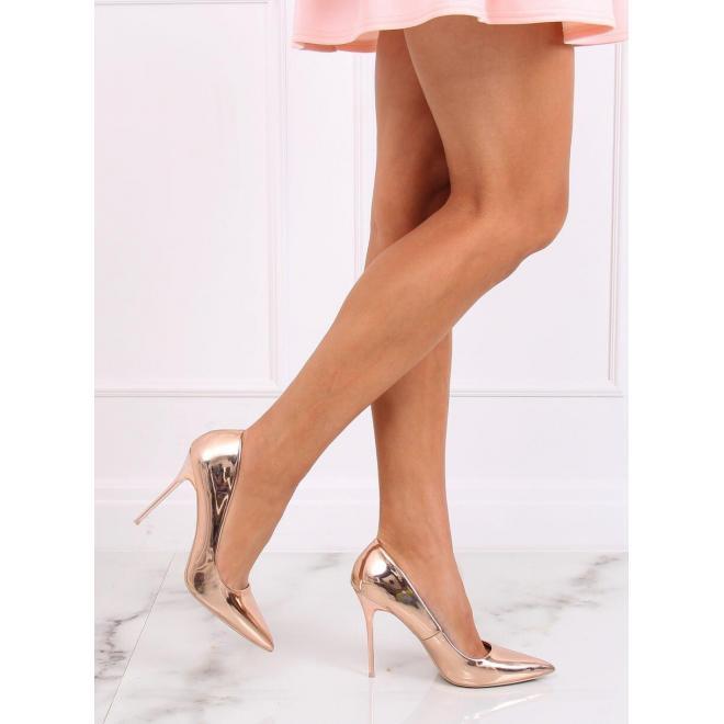 Metalické dámske lodičky ružovo-zlatej farby na podpätku