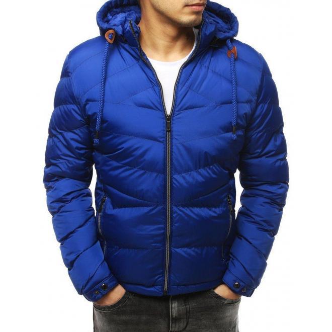 Prešívaná pánska bunda modrej farby na zimu