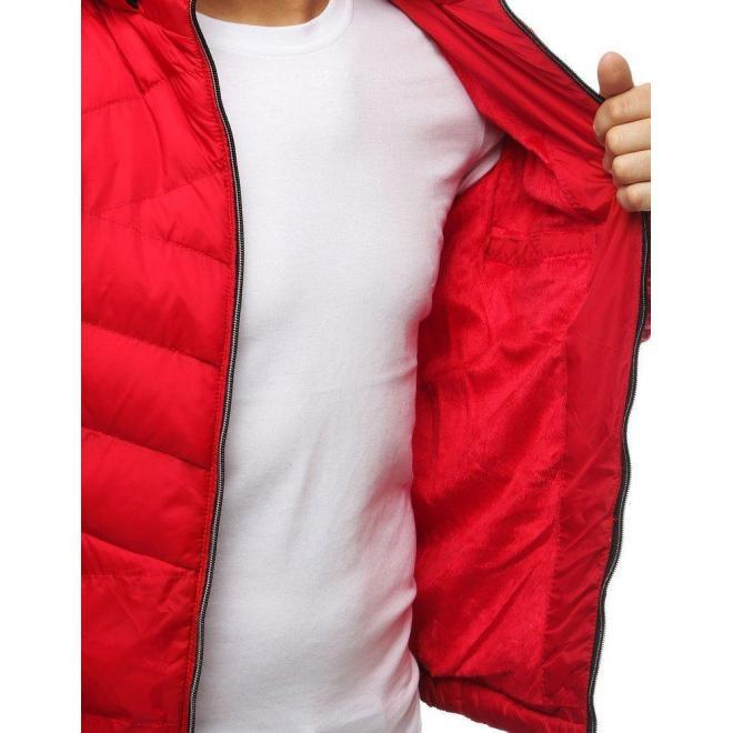 Červená prešívaná bunda na zimu pre pánov