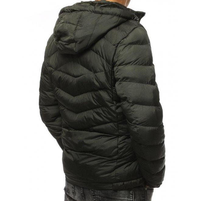 Pánska prešívaná bunda na zimu v zelenej farbe